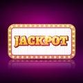 Vector Jackpot banner symbol. Casino game neon sign of jackpot concept