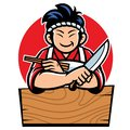 Japan chef with cartoon style