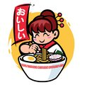 Japan girl mascot eat ramen with japan word mean delicious Royalty Free Stock Photo