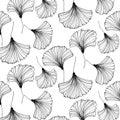 Vector japanese gingko beautiful background. Floral textile decoration. Vintage leaf pattern. Interior design. Bohemia