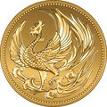 Vector Japanese money gold coin with phoenix