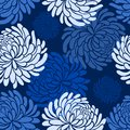 Vector japanese seamless pattern with Chrysanthemums on blue background ,japanese floral pattern tenugui