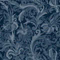 Vector Jeans background with flowers. Denim seamless pattern. Blue jeans fabric. Floral grunge background