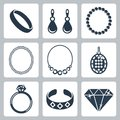 Vector jewelry icons set Stock Images