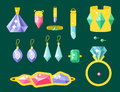 Vector jewelry items gold elegance gemstones precious accessories fashion illustration