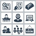 Vector job icons set hunting search human resources Stock Photography
