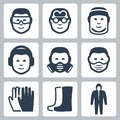 Vector job safety icons Royalty Free Stock Photo