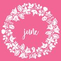 Vector june sign with wreath on pink background Royalty Free Stock Photo