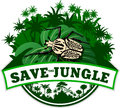Vector Jungle Emblem with goliath beetle Royalty Free Stock Photo