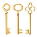 Vector key illustration in flat style design Golden key Isolated on white background. Royalty Free Stock Photo