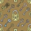Vector key vintage old sketch retro lock illustration of lock from antique keystone open door keyhole security secret Royalty Free Stock Photo
