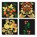 Vector khokhloma pattern cards design traditional Russia drawn illustration ethnic ornament painting illustration