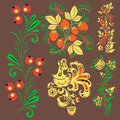 Vector khokhloma pattern design traditional Russia drawn