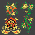 Vector khokhloma pattern design traditional Russia drawn illustration ethnic ornament painting illustration