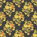Vector khokhloma seamless pattern traditional Russia drawn illustration ethnic ornament painting illustration