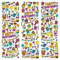Vector kids party Children birthday icons in doodle style Illustration with children, candy, balloon, boys, girls