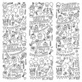 Vector kids party Coloring page Children birthday icons in doodle style Illustration with children, candy, balloon, boys