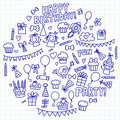 Vector kids party Notepad paper Children birthday icons in doodle style Illustration with children, candy, balloon, boys