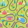 Seamless countryside landscape pattern with houses, lake, mountains, trees and cars on the road. Farm colorful cartoon background Royalty Free Stock Photo