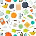 Vector kitchen utensils flat icons background or pattern illustration