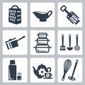 Vector kitchenware icons set grater and sauceboat corkscrew scoop bakeware spatula ladle skimmer thermos tea whisk and masher Stock Photo