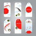 Vector of koi japanese style label tags carp and sun for sale and gifts Stock Photo
