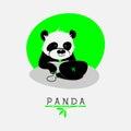 Vector l illustrazione con il panda del fumetto che si siede al suo taccuino Fotografia Stock