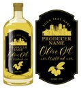 Label for olive oil with countryside landscape