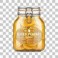 Vector labeled Swing Top Bale Glass Jar filled with sliced peach