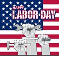 Vector Labor Day greeting or invitation card. National american holiday illustration with USA flag.