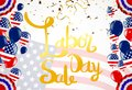 Vector Labor Day greeting or invitation card. National american