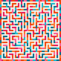 Vector Labyrinth Pink Orange Blue Maze Square on White Background Royalty Free Stock Photo