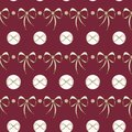 Vector Lace Bows on deep red seamless background.