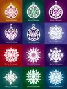 Vector lacy snowflake christmas decoration collection of Royalty Free Stock Photography