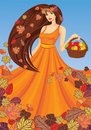 Vector lady autumn Royalty Free Stock Photo