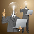Vector lamp head business man shows something with idea concept his finger Royalty Free Stock Images