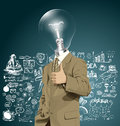Vector Lamp Head Business Man Shows Well Done Royalty Free Stock Photo