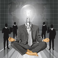 Vector lamp head businessman in lotus pose meditat relax concept meditating Stock Photo