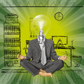 Vector lamp head businessman in lotus pose meditat relax concept meditating Stock Images