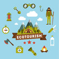Vector landscape depicting a campsite picnic and around the tent snow capped mountains Royalty Free Stock Images