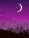 Vector landscape with forest at night. Pink sky with stars and glowing moon Royalty Free Stock Photo