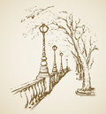 Vector landscape panoramic view of river promenade romantic lane along bund lanterns on bank dike alley freehand outline ink hand Royalty Free Stock Photo
