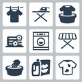 Vector laundry icons set isolated Stock Photo