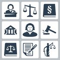Vector law and justice icons set isolated Royalty Free Stock Photography