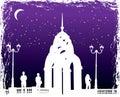 Vector le siluette uomo e donne sulla città di notte della priorità bassa Fotografia Stock Libera da Diritti