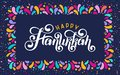 Vector lettering text Happy Hanukkah. Jewish Festival of Lights celebration, festive holiday greeting card template