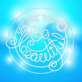 Vector lettering Spa for you Be Beaytiful on blue background. Royalty Free Stock Photo