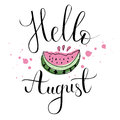 Vector lifestyle lettering & Hello August Royalty Free Stock Photo