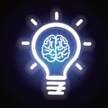 Vector light bulb and brain icon creativity concept Stock Photography
