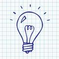 Vector light bulb doodle symbol, hand drawn idea sign, illustration on notebook sheet